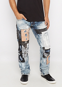 Patched & Paint Splattered Slim Straight Jean
