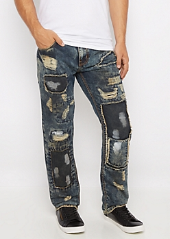Frayed Patches Dirty Wash Slim Jean