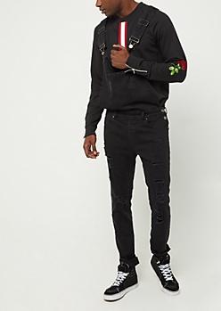 Flex Black Destroyed Overall