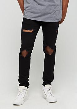 Black Destroyed Skinny Jean