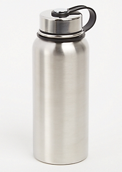 Silver Twist Top Stainless Steel Bottle
