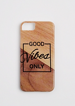 Faux Wooden Good Vibes Case for iPhone 6/6S/7