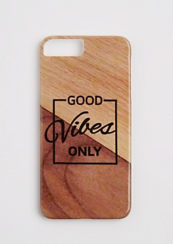 Faux Wooden Good Vibes Case for iPhone 6 Plus/ 7 Plus