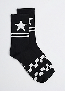 Black Checked Stars Crew Socks