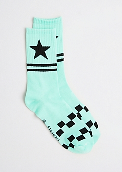 Light Green Checked Stars Crew socks