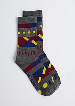Gray Geo Crew Socks