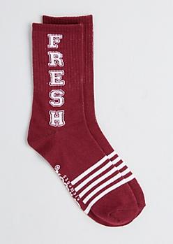 Burgundy Fresh Varsity Crew Socks