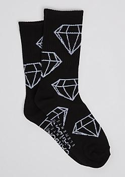 Black Gem Outline Crew Socks