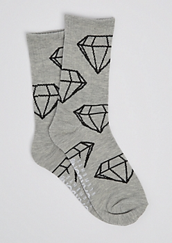 Gray Gem Outline Crew Socks