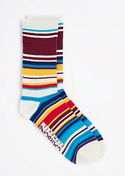 Burgundy Multi-Striped Crew Socks
