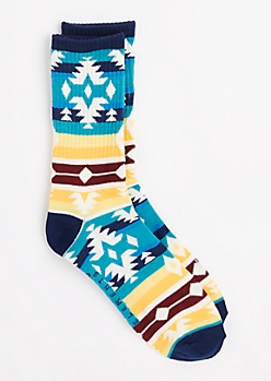 Multi Aztec Striped Crew Socks