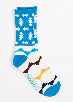 Turquoise Pixelated Aztec Crew Socks