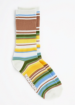 Green Multi-Striped Crew Socks