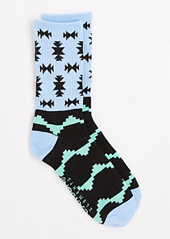 Mint Pixelated Aztec Crew Socks