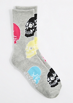 Multi Skull Crew Socks