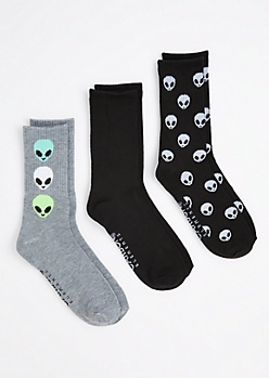 3-Pack Alien Head Crew Socks