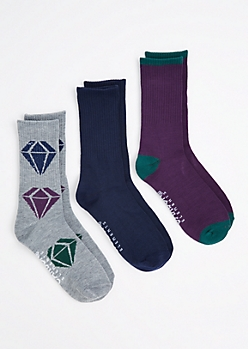3-Pack Color Block Gem Crew Socks