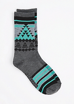 Teal & Gray Aztec Triangle Crew Socks