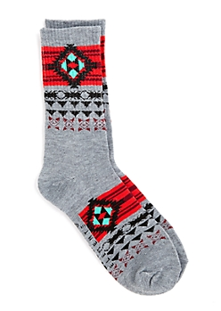 Red & Mint Aztec Banded Crew Socks