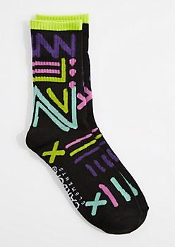 Neon Scribble Crew Socks