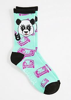 Panda Mixed Tape Crew Socks