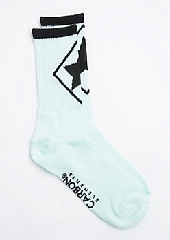 Mint Geo Star Crew Socks