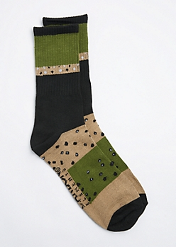 Black Striped & Dotted Crew Sock