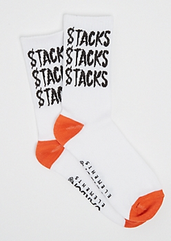 Orange Stacks Crew Socks