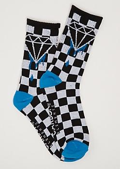 Blue Checkered Dripping Gem Crew Socks
