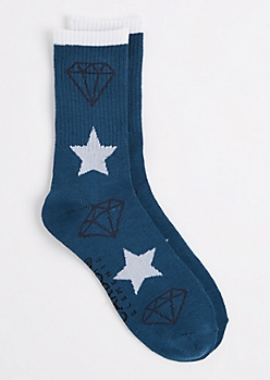Medium Blue Star & Gem Crew Socks
