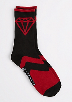 Black & Red Gem Crew Socks