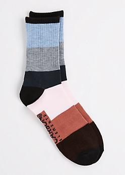 Blue & Pink Thick Striped Crew Socks