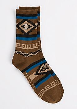 Tan Navaho Aztec Crew Socks