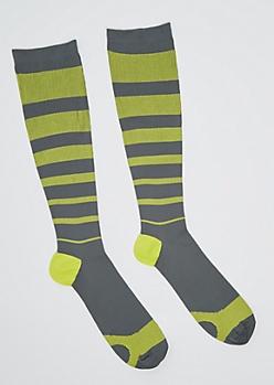 Yellow Striped Compression Socks