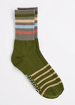 Dark Olive Pastel Striped Crew Socks