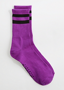 Neon Purple Varsity Striped Crew Socks