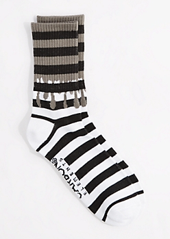 Striped Paint Drip Crew Socks