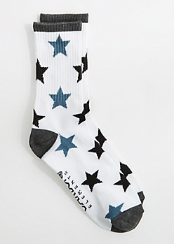 Black & Gray Star Crew Socks