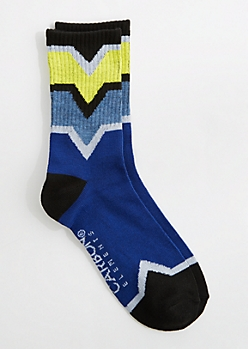 Blue & Yellow Chevron Crew Socks