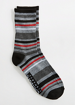 Gray & Red Striped Crew Socks