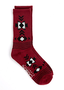 Aztec Cuff Striped Crew Socks