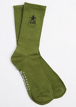 Dark Olive FAME Crew Socks