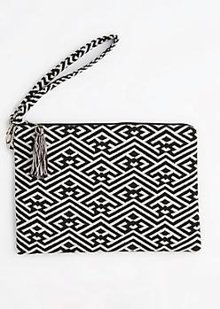 Black & White Geo Tassel Clutch
