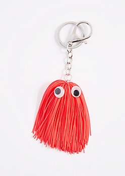 Coral Tassel Monster Handbag Charm