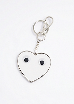 White Heart Googly Eyed Handbag Charm