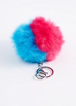 Blue & Fuchsia Pom Handbag Charm
