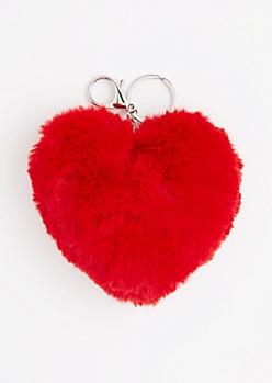 Red Fluffy Heart Handbag Charm