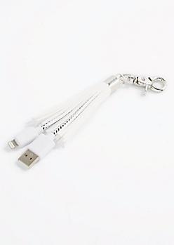 White Tassel USB Handbag Charm