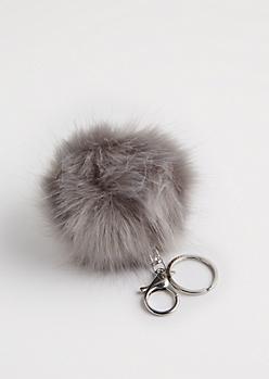 Gray Faux Pom Keychain