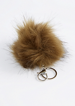 Olive Faux Pom Keychain